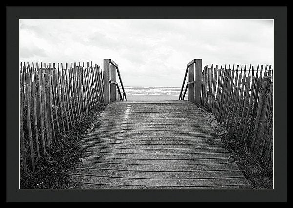 Rustic Boardwalk Leading To Beach - Framed Print from Wallasso - The Wall Art Superstore