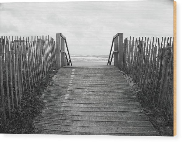 Rustic Boardwalk Leading To Beach - Wood Print from Wallasso - The Wall Art Superstore