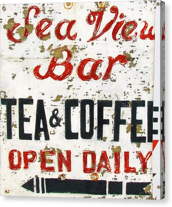 Rustic Seaside Tea and Coffee Bar Sign - Canvas Print from Wallasso - The Wall Art Superstore