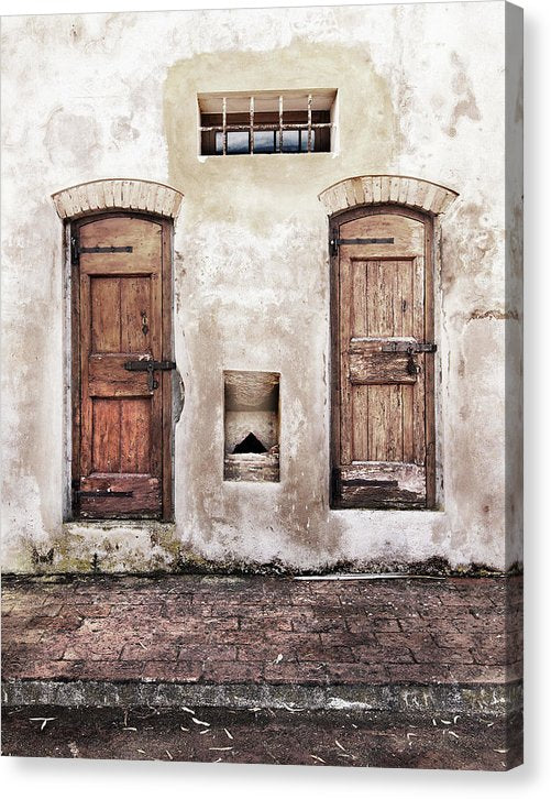 Rustic Wall With Two Wooden Doors - Canvas Print from Wallasso - The Wall Art Superstore