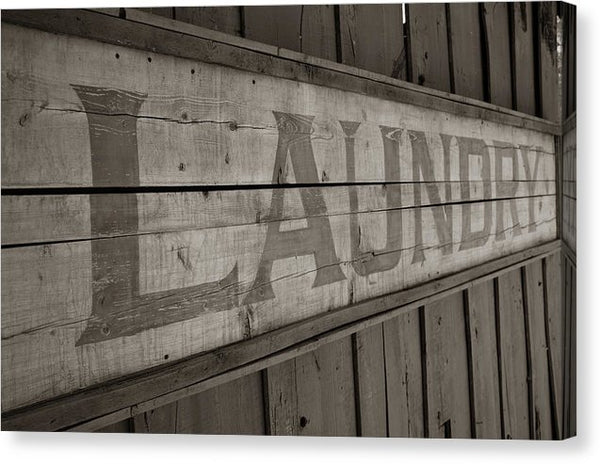 Rustic Wooden Laundry Sign - Canvas Print from Wallasso - The Wall Art Superstore
