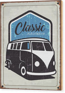Rusty Blue Distressed Classic Volkswagen Bus Sign - Wood Print from Wallasso - The Wall Art Superstore