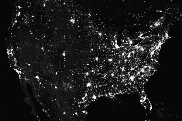 Satellite Photo of City Lights In United States of America - Art Print from Wallasso - The Wall Art Superstore