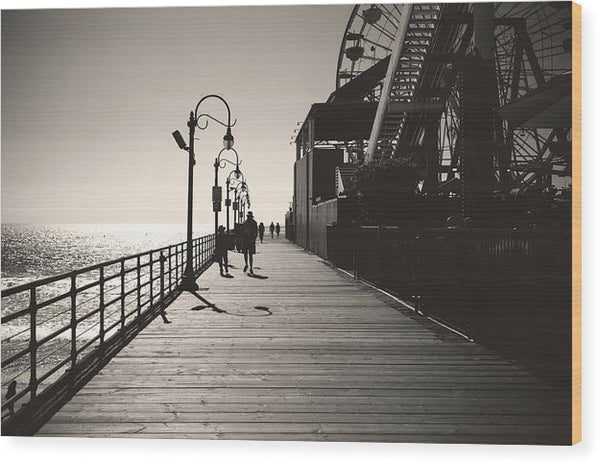 Seaside Boardwalk With Carnival Games - Wood Print from Wallasso - The Wall Art Superstore