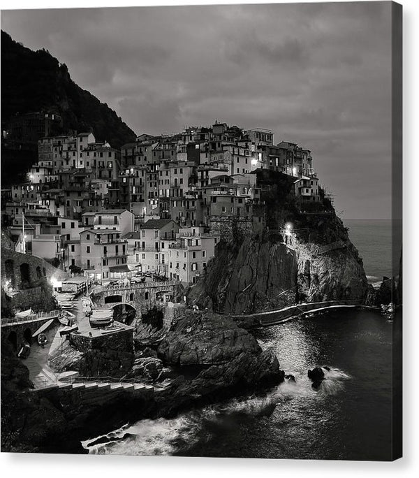 Seaside Italian Cinque Terre Village At Night, Black and White - Canvas Print from Wallasso - The Wall Art Superstore