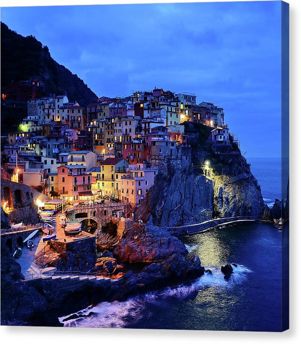 Seaside Italian Cinque Terre Village At Night - Canvas Print from Wallasso - The Wall Art Superstore