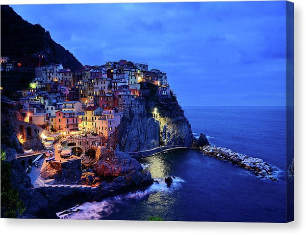 Seaside Italian Village At Night, Cinque Terre - Canvas Print from Wallasso - The Wall Art Superstore