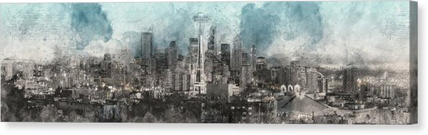 Seattle Skyline Watercolor Design Panorama - Canvas Print from Wallasso - The Wall Art Superstore