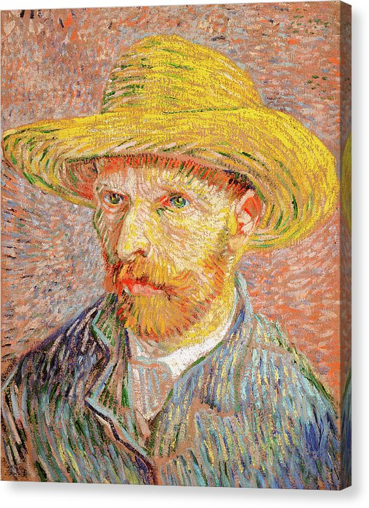 Self Portrait With A Straw Hat by Vincent van Gogh, 1887 - Canvas Print from Wallasso - The Wall Art Superstore