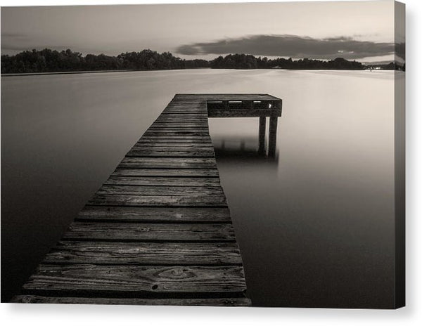 Sepia Boardwalk On Lake - Canvas Print from Wallasso - The Wall Art Superstore