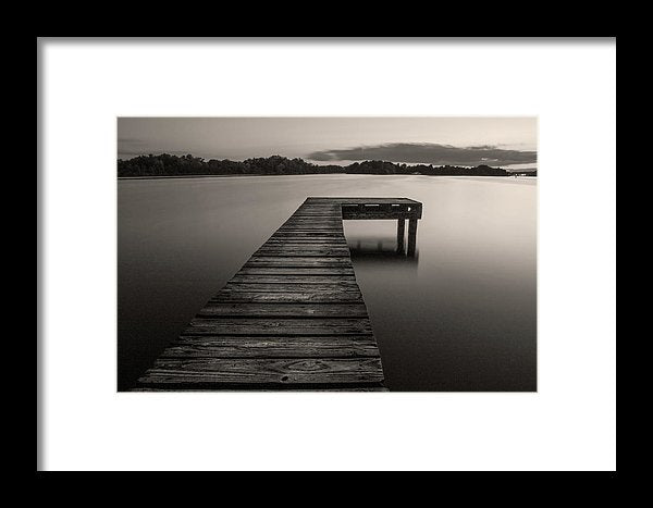 Sepia Boardwalk On Lake - Framed Print from Wallasso - The Wall Art Superstore