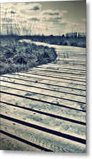 Sepia Boardwalk Planks With Grass - Metal Print from Wallasso - The Wall Art Superstore