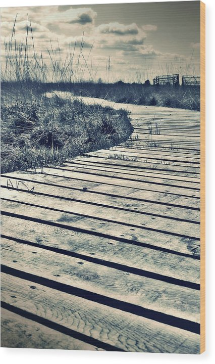 Sepia Boardwalk Planks With Grass - Wood Print from Wallasso - The Wall Art Superstore