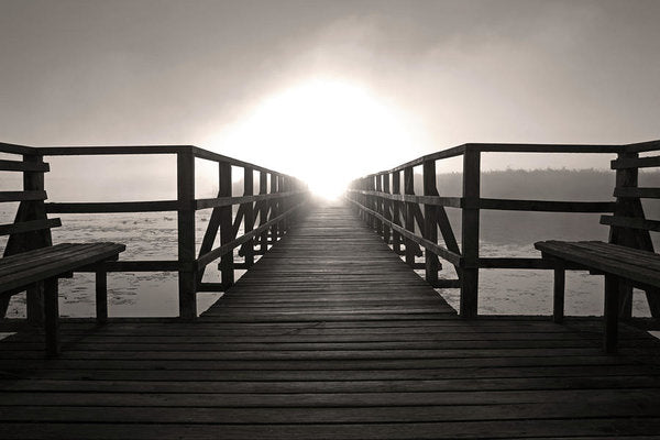 Sepia Boardwalk With Benches Leading Into Sunset - Art Print from Wallasso - The Wall Art Superstore