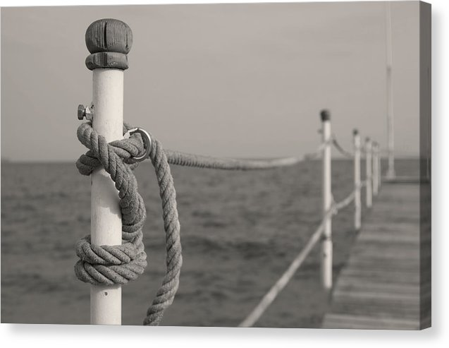 Sepia Boardwalk With Rope Railing - Canvas Print from Wallasso - The Wall Art Superstore