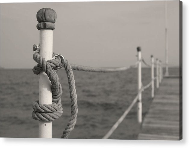 Sepia Boardwalk With Rope Railing - Acrylic Print from Wallasso - The Wall Art Superstore
