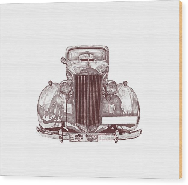 Sepia Colored Classic Car - Wood Print from Wallasso - The Wall Art Superstore