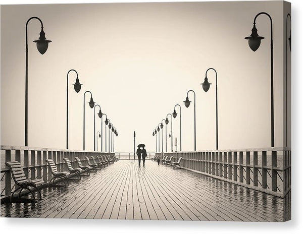 Sepia Romantic Couple Walking On Pier - Canvas Print from Wallasso - The Wall Art Superstore