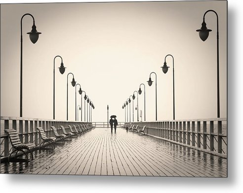 Sepia Romantic Couple Walking On Pier - Metal Print from Wallasso - The Wall Art Superstore