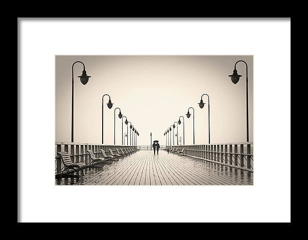 Sepia Romantic Couple Walking On Pier - Framed Print from Wallasso - The Wall Art Superstore