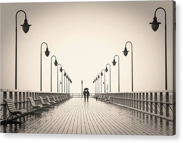 Sepia Romantic Couple Walking On Pier - Acrylic Print from Wallasso - The Wall Art Superstore