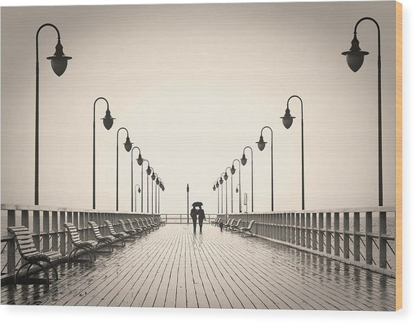 Sepia Romantic Couple Walking On Pier - Wood Print from Wallasso - The Wall Art Superstore