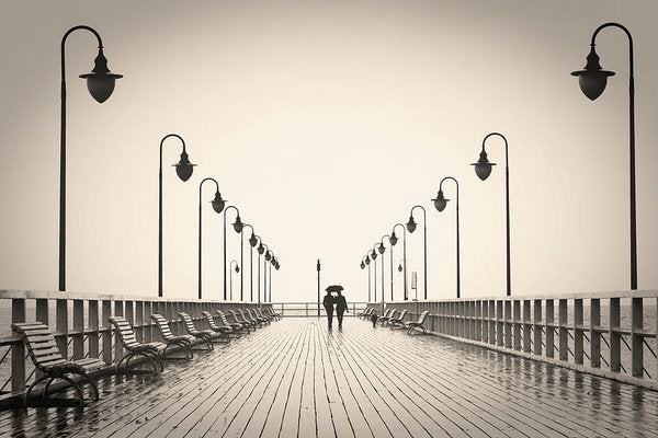 Sepia Romantic Couple Walking On Pier - Art Print from Wallasso - The Wall Art Superstore