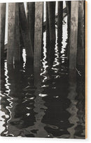 Sepia Wood Posts In Water - Wood Print from Wallasso - The Wall Art Superstore