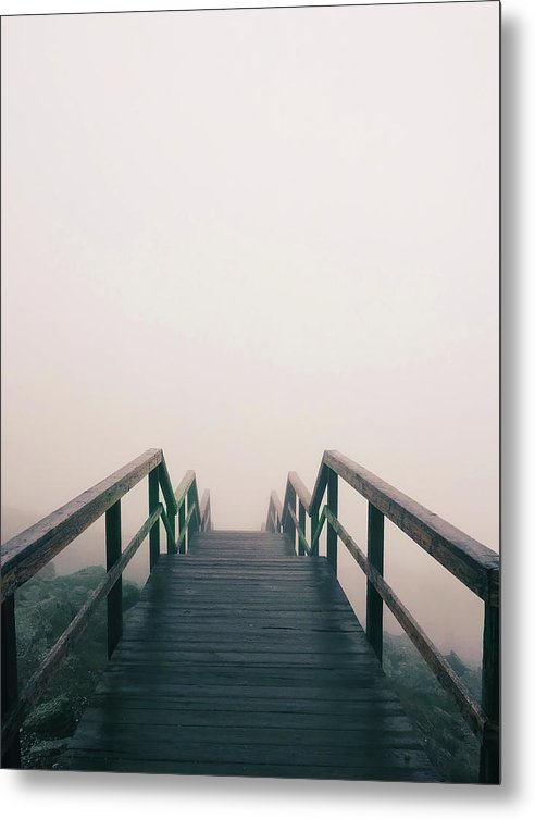 Sepia Wooden Stairs Leading Down Into Fog - Metal Print from Wallasso - The Wall Art Superstore