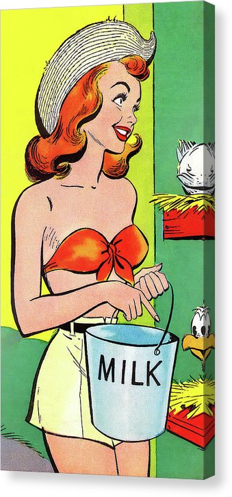 Sexy Farm Girl, Vintage Comic Book - Canvas Print from Wallasso - The Wall Art Superstore