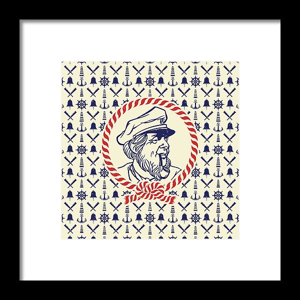 Ship Captain Nautical Pattern - Framed Print from Wallasso - The Wall Art Superstore