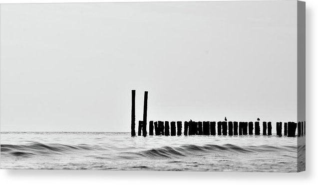 Silhouette of Wood Posts In Ocean - Canvas Print from Wallasso - The Wall Art Superstore