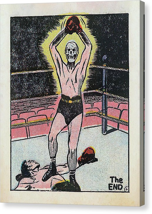 Skeleton Boxer Wins The Fight, Vintage Comic Book - Canvas Print from Wallasso - The Wall Art Superstore