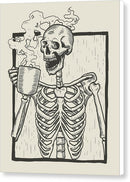 Skeleton Drinking Coffee - Canvas Print from Wallasso - The Wall Art Superstore