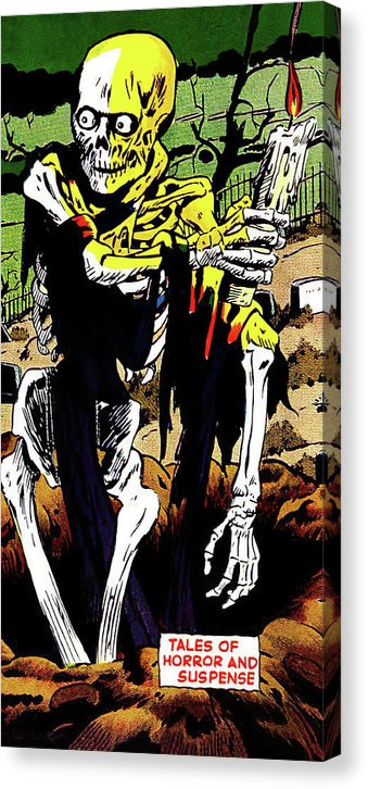 Skeleton With Candle, Vintage Comic Book - Canvas Print from Wallasso - The Wall Art Superstore