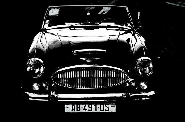 Sleek Black and White Austin Healey Car - Art Print from Wallasso - The Wall Art Superstore