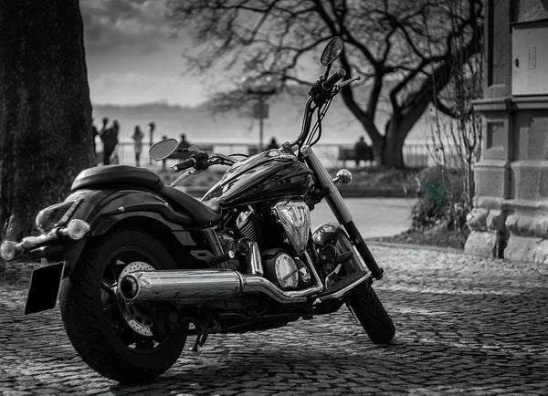 Sleek Black and White Motorcycle - Art Print from Wallasso - The Wall Art Superstore
