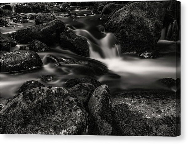 Small Creek Waterfall With Mossy Rocks, Sepia - Canvas Print from Wallasso - The Wall Art Superstore