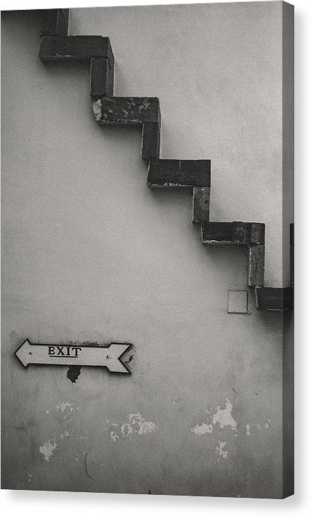 Small Wood Staircase Attached To Wall - Canvas Print from Wallasso - The Wall Art Superstore