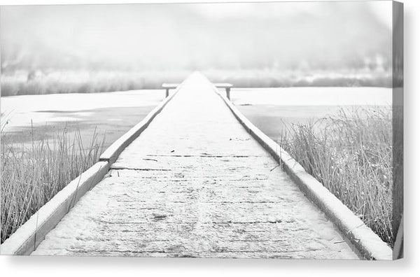 Snowy Lake Boardwalk - Canvas Print from Wallasso - The Wall Art Superstore
