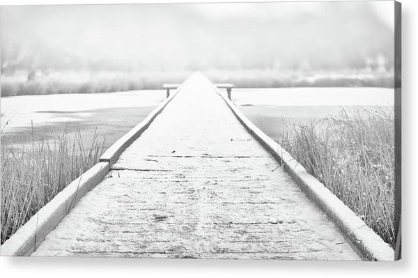 Snowy Lake Boardwalk - Acrylic Print from Wallasso - The Wall Art Superstore