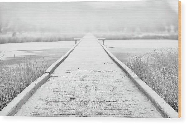 Snowy Lake Boardwalk - Wood Print from Wallasso - The Wall Art Superstore