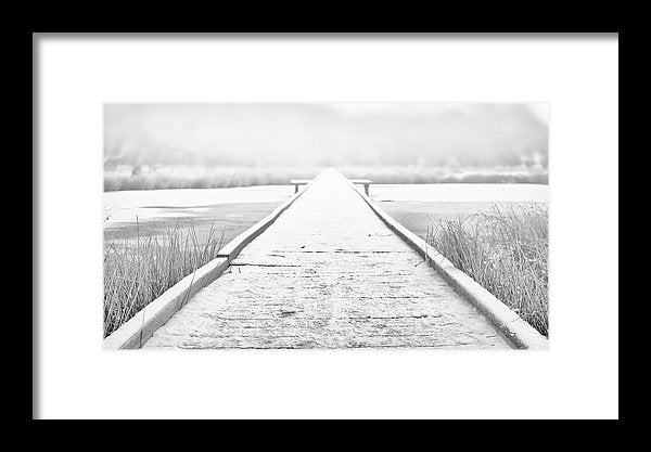 Snowy Lake Boardwalk - Framed Print from Wallasso - The Wall Art Superstore