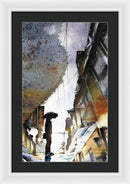 Someone With Umbrella Reflected In Rain Puddle, Watercolor Painting - Framed Print from Wallasso - The Wall Art Superstore
