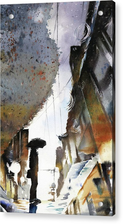 Someone With Umbrella Reflected In Rain Puddle, Watercolor Painting - Acrylic Print from Wallasso - The Wall Art Superstore