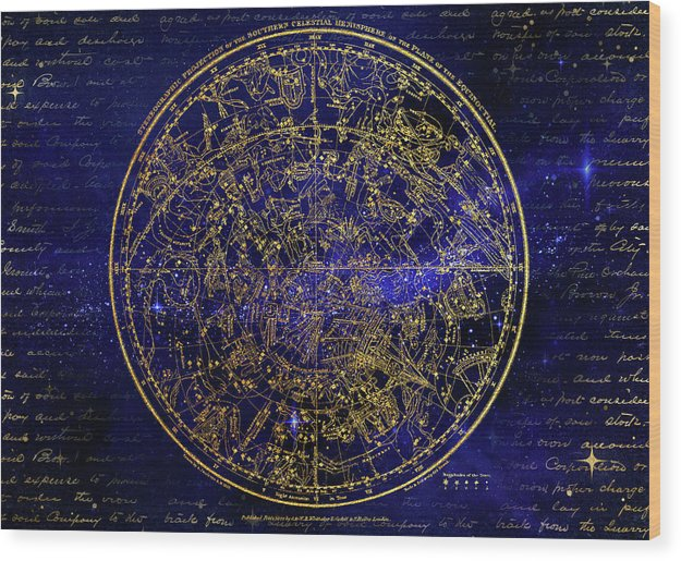 Southern Hemisphere Constellations - Wood Print from Wallasso - The Wall Art Superstore