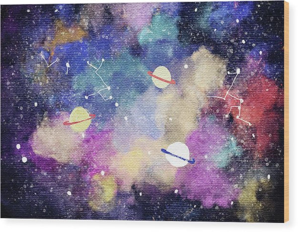Space, Planets, Constellations For Kids - Wood Print from Wallasso - The Wall Art Superstore