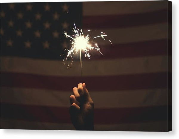 Sparkler With American Flag - Canvas Print from Wallasso - The Wall Art Superstore