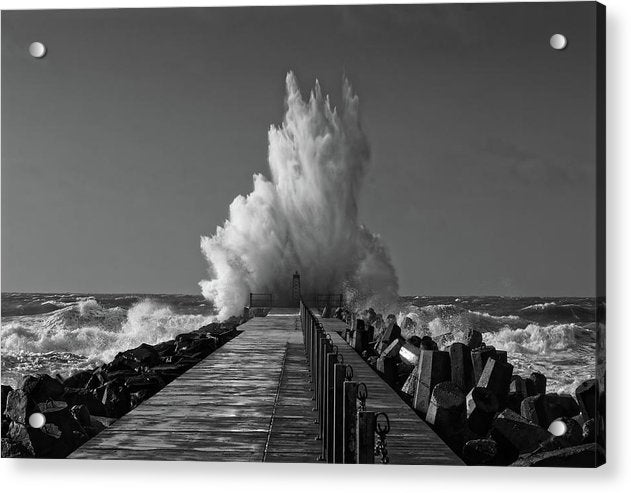 Spectacular Waves Crashing Into Jetty - Acrylic Print from Wallasso - The Wall Art Superstore