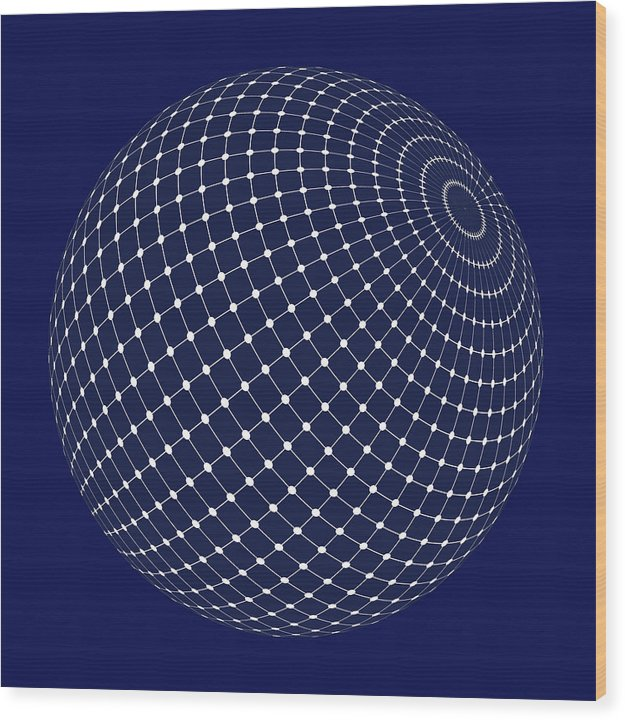 Sphere With Isometric Points, 2 of 2 Set - Wood Print from Wallasso - The Wall Art Superstore